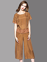 OYCP Women's Office/Career Daily Homecoming Chic & Modern Fashion Spring Summer Fall T-shirt Pant SuitsSolid Round Neck Short Sleeve Inelastic