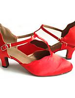 Damen Latin Vlies Sandalen Aufführung Verschlussschnalle Kubanischer Absatz Rot 5 - 6,8 cm Maßfertigung