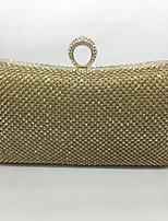 Women Evening Bag Metal All Seasons Event/Party Hobo Push Lock Silver Black Gold