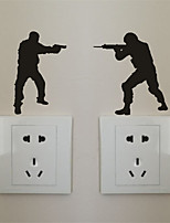 AYA DIY Funny  Wall Stickers Soldiers Switch Stickers