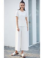 Damen Solide Einfach Alltag Normal T-shirt,Rundhalsausschnitt Kurzarm Baumwolle Leinen