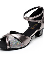 Women's Latin Sparkling Glitter Synthetic Microfiber PU Net Heels Indoor Sparkling Glitter Gray 1