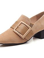 Damen Flache Schuhe Komfort Gummi Sommer Walking Komfort Schnalle Block Ferse Schwarz Beige Grün Unter 2,5 cm