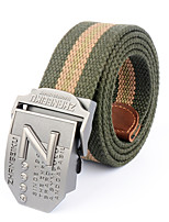 Men's Pattern Alloy Outdoor Waist Belt Casual/Business Color Block Striped Cotton Canvas Belt Black/Army Green/Grey