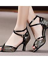 Для женщин Танцевальные кроссовки Полиуретан Сандалии Кроссовки Для открытой площадки На толстом каблуке Золотой Черный 5 - 6,8 см