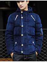 Men's Regular Down Coat,Simple Active Daily Casual Solid-Cotton Polyester Polypropylene Long Sleeve