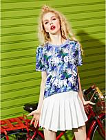 Damen Druck Sexy Alltag Normal T-shirt,Rundhalsausschnitt Kurzarm Baumwolle Viskose