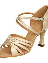Women's Latin Silk Sandals Performance Buckle Stiletto Heel Beige 3