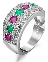 Ring Women's Euramerican Luxury Classic Multicolor Rhinestone Zircon Ring Daily Party Gift Movie Jewelry