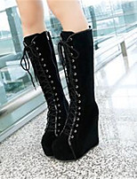 Women's Shoes Nubuck leather PU Fall Winter Comfort Boots For Casual Black