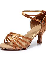 Women's Latin Silk Sandals Indoor Customized Heel Dark Brown Customizable