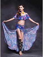 Dança do Ventre Roupa Mulheres Apresentação Fibra Sintética Elastano Frente Dividida 2 Peças Manga Curta Natural Saias Blusas