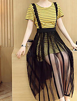 Women's Daily Casual Casual Summer T-shirt Skirt Suits,Striped Color Block Round Neck Short Sleeve Micro-elastic