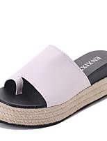 Damen Slippers & Flip-Flops PU Sommer Walking Ausgehöhlt Flacher Absatz Weiß Schwarz 7,5 - 9,5 cm