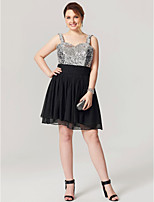 A-Line Straps Knee Length Chiffon Sequined Cocktail Party Dress with Ribbon
