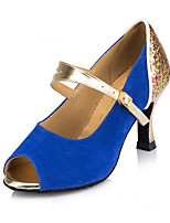 Women's Latin Nubuck leather Heels Indoor Buckle Blushing Pink Blue 2