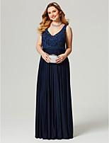 A tubino A V Lungo Di pizzo Jersey Serata formale Vestito con Perline Con applique Fascia / fiocco in vita di TS Couture®