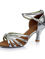 Women's Latin Leatherette Sandals Indoor Customized Heel Silver Customizable