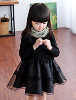 Girl's Solid Patchwork Dress,Rayon Polyester Spring Fall Long Sleeve