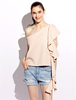 Women's Daily Casual Simple Cute Spring Summer Blouse,Solid One Shoulder Sleeveless Polyester Medium