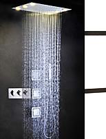 Moderní LED Sprchový systém Sidespray Dešťová sprcha Včetne sprchové hlavice Světla with  Keramický ventil Tři Rukojeti pěti jamkách for