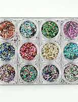 12 Colors Super Shining Nail Art Mini Paillette Plastic Thin Stickers Kit Nail Decorations Sticker Laser Glitter Tips 133g/PC