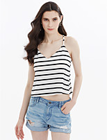 Women's Casual/Daily Sexy Simple Cute Summer Tank Top,Striped Strap Sleeveless Cotton Polyester Taffeta Medium