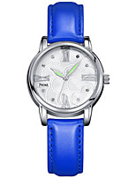 Women's Fashion Watch Unique Creative Watch Quartz Water Resistant / Water Proof Leather Band Black White Blue Red Orange