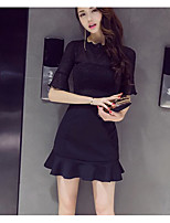 Women's Daily Casual Casual Summer T-shirt Skirt Suits,Solid Round Neck 1/2 Length Sleeve Micro-elastic