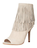 Women's Boots Fashion Boots Leatherette Summer Fall Party & Evening Dress Fashion Boots Tassel(s) Zipper Stiletto HeelBlushing Pink Beige
