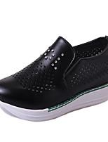Для женщин Обувь на каблуках Удобная обувь Полиуретан Осень Повседневные Для праздника Для прогулок Удобная обувь На танкетке Белый Черный