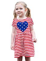 Girl's Striped Dress Cotton Summer Short Sleeve Heart Fashion 2017 New American Flag Kids Girls Dresses