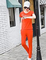 Для женщин На каждый день Лето Как у футболки Брюки Костюмы Круглый вырез,Спорт Однотонный С короткими рукавами