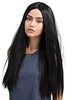 Elegant Black Midsplit Long straight hair Synthetic Wig
