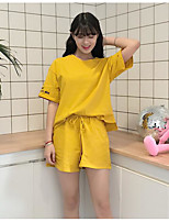 Women's Casual Simple Summer T-shirt Pant Suits,Solid Round Neck Short Sleeve Inelastic
