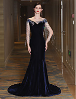 Mermaid / Trumpet Bateau Neck Court Train Satin Tulle Velvet Formal Evening Dress withBeading Crystal Detailing Tassel(s) Bandage