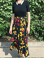 Women's Casual Pattern Summer T-shirt Skirt Suits,Floral Round Neck Short Sleeve