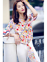 AGD Women's Birthday Party Going out Casual/Daily Work Cute Street chic Spring Summer BlouseStriped Floral Round Neck Half Sleeve Silk Medium
