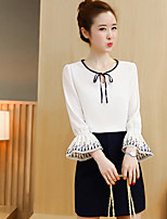 Women's Other Casual Other Casual Summer Blouse Skirt Suits,Solid Round Neck 3/4 Length Sleeve