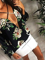 Women's Going out Casual/Daily Holiday Sexy Vintage Boho Criss-Cross Cut Out Slim Bow All Match Spring Fall T-shirtFloral Deep V Long Sleeve Medium