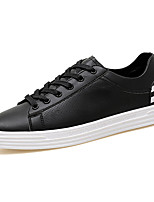 Men's Sneakers Comfort Spring Fall PU Casual Lace-up Flat Heel White Black Red/White Flat