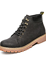 Men's Boots Comfort Combat Boots Fall Winter Leather Casual Party & Evening Lace-up Flat Heel Black Light Brown Dark Brown Flat