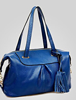 Women Tote Cowhide All Seasons Casual Outdoor Round Zipper Black Blue