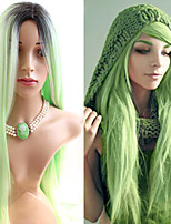 Light Green Color Trendy Silk Popular Daily Beauty Straight Synthetic Wig with Dark Root Heat Resistant Natural Capless Wig High Quality