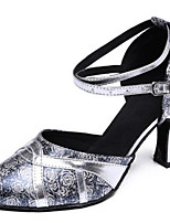 Women's Dance Sneakers Sparkling Glitter Real Leather Sheepskin Sandals Sneakers Outdoor Chunky Heel Silver 2
