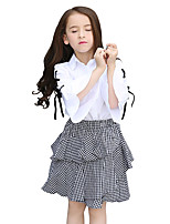 Girls' Plaid/Check Solid Color Sets,Cotton Summer Half Sleeve Clothing Set