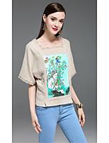 Damen Blumen Boho Lässig/Alltäglich T-shirt,Quadratischer Ausschnitt Halbe Ärmel Baumwolle Leinen