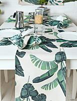 Cotton Blend Material Plant Watercolor Linen Tablecloth