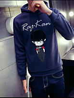 Men's Casual/Daily Casual Sweatshirt Print Round Neck Micro-elastic Cotton/Nylon with a Hint of Stretch Long Sleeve Spring