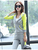 Women's Casual/Daily Simple Fall Hoodie Pant Suits,Solid Color Block Hooded Long Sleeve Micro-elastic